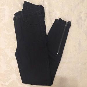 J Brand Black Zip Leg Jean Size 25